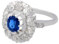 1.02ct Basaltic Sapphire & 1.85ct Diamond, 18ct White Gold Cluster Ring c.1930 (3 of 9)