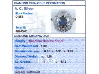 1.02ct Basaltic Sapphire & 1.85ct Diamond, 18ct White Gold Cluster Ring c.1930 (6 of 9)