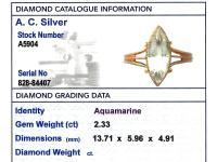 2.33ct Aquamarine & 15ct Yellow Gold Dress Ring - Antique Victorian (6 of 9)