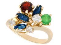 0.87 ct Multi-Gemstone & 0.28ct Diamond, 18ct Yellow Gold Ring - Vintage