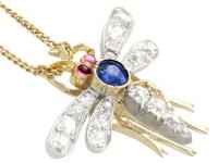 0.45ct Sapphire, 0.92ct Diamond & Ruby, 14ct Yellow Gold Dragonfly Pendant / Brooch - Antique c.1890 (3 of 12)