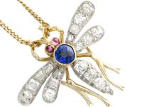 0.45ct Sapphire, 0.92ct Diamond & Ruby, 14ct Yellow Gold Dragonfly Pendant / Brooch - Antique c.1890 (4 of 12)