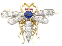 0.45ct Sapphire, 0.92ct Diamond & Ruby, 14ct Yellow Gold Dragonfly Pendant / Brooch - Antique c.1890 (6 of 12)