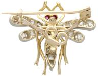 0.45ct Sapphire, 0.92ct Diamond & Ruby, 14ct Yellow Gold Dragonfly Pendant / Brooch - Antique c.1890 (7 of 12)