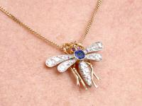 0.45ct Sapphire, 0.92ct Diamond & Ruby, 14ct Yellow Gold Dragonfly Pendant / Brooch - Antique c.1890 (11 of 12)