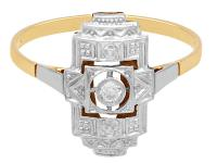 Diamond & 14ct Yellow Gold, 14ct White Gold Set Dress Ring - Art Deco - Antique c.1920 (3 of 9)