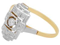 Diamond & 14ct Yellow Gold, 14ct White Gold Set Dress Ring - Art Deco - Antique c.1920 (4 of 9)