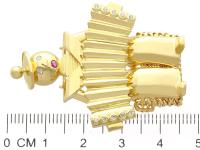 0.14ct Diamond & Ruby, 18ct Yellow Gold Accordion Brooch - Vintage c.1950 (7 of 9)