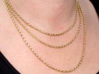 Antique 9ct Yellow Gold Longuard / Watch Chain c.1890 (9 of 12)