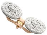 1.56ct Diamond, Platinum & 18ct Gold Cufflinks - Antique c.1920 (4 of 9)