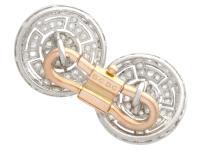 1.56ct Diamond, Platinum & 18ct Gold Cufflinks - Antique c.1920 (6 of 9)