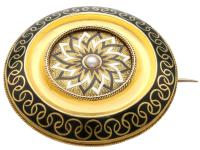 Enamel & Seed Pearl 15ct Yellow Gold Mourning Brooch - Antique Victorian c.1880 (2 of 9)