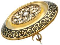 Enamel & Seed Pearl 15ct Yellow Gold Mourning Brooch - Antique Victorian c.1880 (3 of 9)