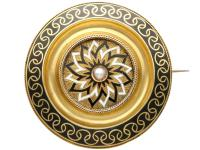 Enamel & Seed Pearl 15ct Yellow Gold Mourning Brooch - Antique Victorian c.1880