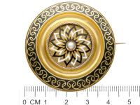 Enamel & Seed Pearl 15ct Yellow Gold Mourning Brooch - Antique Victorian c.1880 (8 of 9)