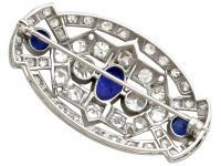 5.68ct Diamond & 2.35ct Sapphire, Platinum Brooch - Art Deco c.1930 (5 of 9)