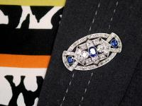 5.68ct Diamond & 2.35ct Sapphire, Platinum Brooch - Art Deco c.1930 (9 of 9)