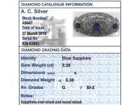 5.68ct Diamond & 2.35ct Sapphire, Platinum Brooch - Art Deco c.1930 (8 of 9)