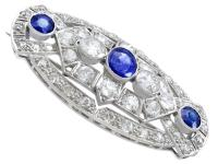 5.68ct Diamond & 2.35ct Sapphire, Platinum Brooch - Art Deco c.1930 (2 of 9)