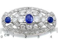 5.68ct Diamond & 2.35ct Sapphire, Platinum Brooch - Art Deco c.1930 (7 of 9)