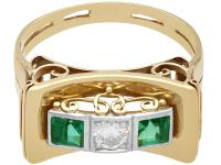 0.42ct Tourmaline & 0.25ct Diamond, 14ct Yellow Gold Ring - Art Deco Style - Vintage c.1950 (4 of 9)