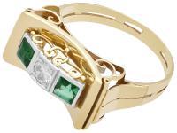 0.42ct Tourmaline & 0.25ct Diamond, 14ct Yellow Gold Ring - Art Deco Style - Vintage c.1950 (3 of 9)