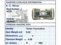 0.42ct Tourmaline & 0.25ct Diamond, 14ct Yellow Gold Ring - Art Deco Style - Vintage c.1950 (6 of 9)