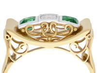 0.42ct Tourmaline & 0.25ct Diamond, 14ct Yellow Gold Ring - Art Deco Style - Vintage c.1950 (2 of 9)