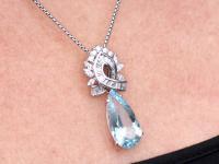 11.20ct Aquamarine and 2.37ct Diamond, Platinum & 18ct White Gold Pendant - Vintage c.1950 (9 of 9)