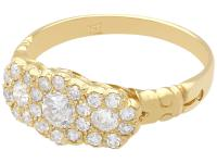 1.01 ct Diamond and 18 ct Yellow Gold Cluster Ring - Antique circa 1910 (3 of 9)