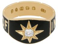 0.13ct Diamond and Black Enamel, 18ct Yellow Gold Mourning Ring - Antique Victorian (4 of 12)