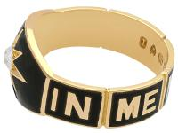 0.13ct Diamond and Black Enamel, 18ct Yellow Gold Mourning Ring - Antique Victorian (7 of 12)