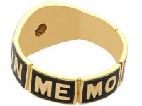 0.13ct Diamond and Black Enamel, 18ct Yellow Gold Mourning Ring - Antique Victorian (8 of 12)