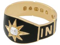 0.13ct Diamond and Black Enamel, 18ct Yellow Gold Mourning Ring - Antique Victorian (3 of 12)