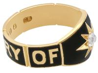 0.13ct Diamond and Black Enamel, 18ct Yellow Gold Mourning Ring - Antique Victorian (9 of 12)