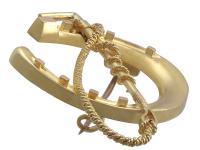 Victorian 15 Carat Yellow Gold 'Horseshoe & Crop' Brooch (6 of 6)