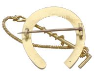 Victorian 15 Carat Yellow Gold 'Horseshoe & Crop' Brooch (4 of 6)