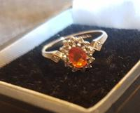 9K Gold Fire Opal & Diamond Cluster Engagement Ring