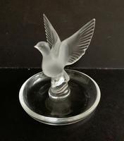 Lalique Opaque Glass Dove on Circular Dish