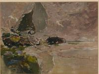 George Edward Horton - Oil on Canvas - Dutch Sailing Barge Breached (2 of 2)