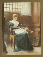 Charles Gogin - Watercolour - Lady Sat Reading (2 of 3)