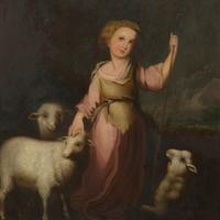 Pair Mid 19th Century Oils on Canvas of a Girl & Boy with Sheep (2 of 4)