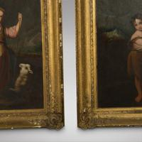 Pair Mid 19th Century Oils on Canvas of a Girl & Boy with Sheep (4 of 4)