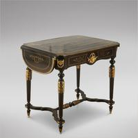 French 19th Century Ebonised Library Table (2 of 4)