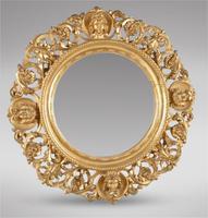 Pair of Italian Carved Giltwood Circular Mirrors (2 of 4)