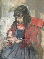 Peter Kuhfeld - Jemimah Sewing - Oil on Board (5 of 5)