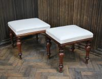 Near Pair of English Upholstered Foot Stools (2 of 7)