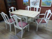 Stunning Painted Table & 6 Chairs c.1920 (3 of 11)
