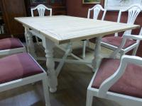 Stunning Painted Table & 6 Chairs c.1920 (5 of 11)