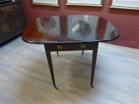 Victorian Mahogany Inlaid Drop Leaf Table Desk Occasional Table